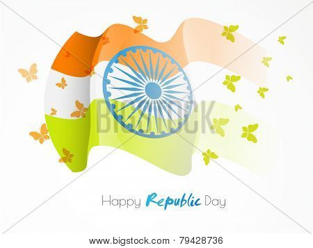 Waving national flag with Ashoka Wheel and flying butterflies in national tricolor for Happy Indian Republic Day celebration.
