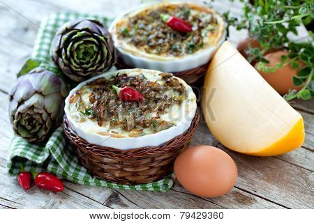 Vegetable Flans With Artichokes And Cheese