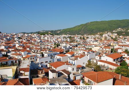 SKIATHOS, GREECE - SEPTEMBER 28, 2012: Looking down onto Skiathos Town on the Greek island of Skiathos. The island was the location for several scenes in the popular 2008 film Mamma Mia.