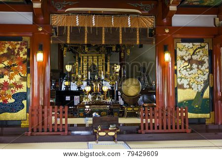 Beautifully Decorated Altar At A Buddhist Temple In Ueno Park