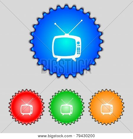 Retro Tv Mode Sign Icon. Television Set Symbol. Set Colourful Buttons. Hand Cursor Pointer Vector