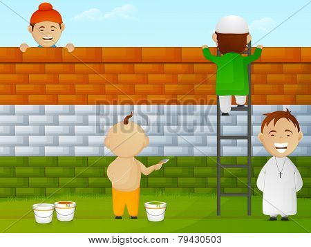 Cute little kids of different religion painting wall in national flag colors for Indian Republic Day celebration.