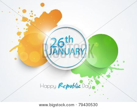 National flag color sticker or label with text 26th January and splash for Happy Indian Republic Day celebration.
