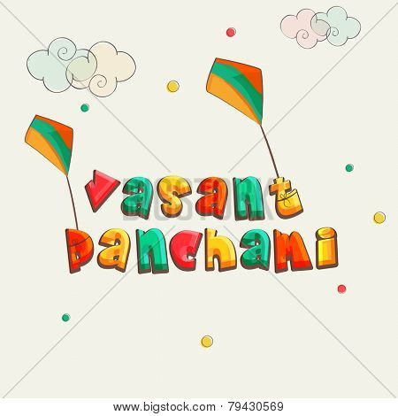 Kiddish colorful text Vasant Panchami with kites on clouds decorated background.