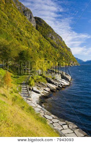 landscape by Haldanger fjord Norway