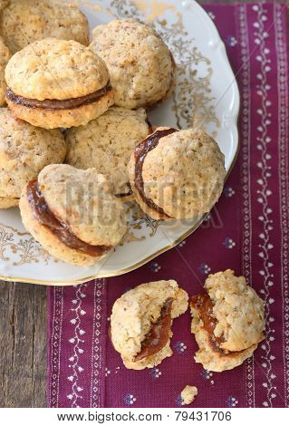 Plate with chocolate and nuts cookies