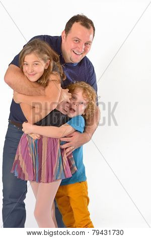 a father play with his kids isolated on white background