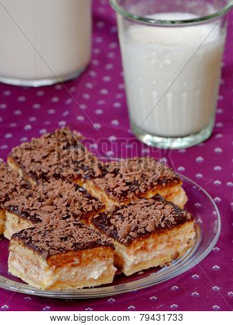 cheese cake with chocolate and glass of milk