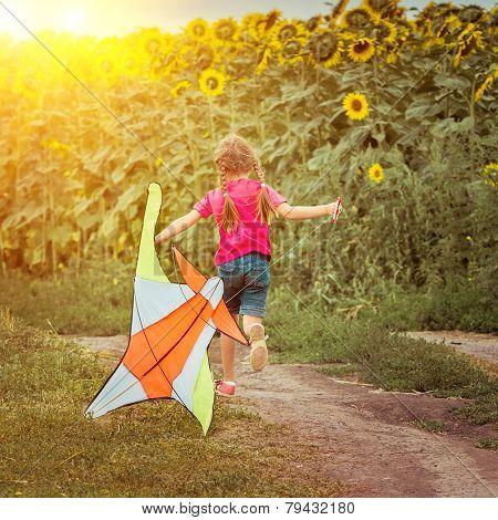 happy beautiful little girl witha kite