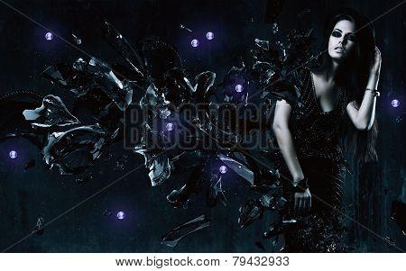 Brunette Woman In Black Dress And Broken Glass