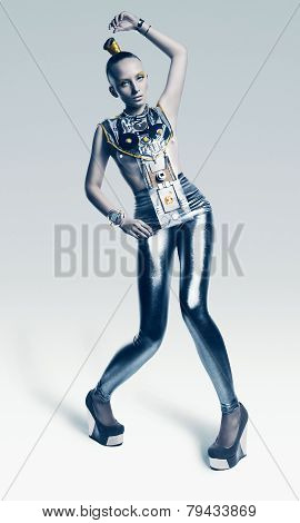 Bizarre Alien Woman In Silver Costume