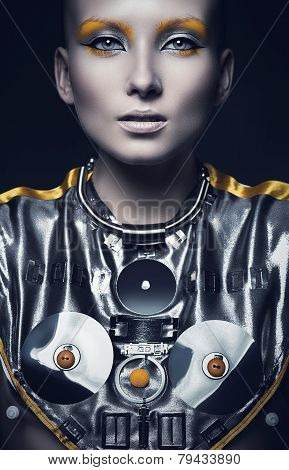 Futuristic Woman In Silver Costume