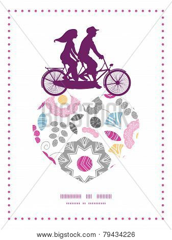 Vector vibrant floral scaterred couple on tandem bicycle heart silhouette frame pattern greeting car