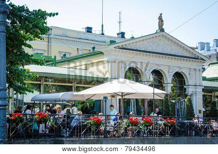 Café scene in Esplanade Park in Helsinki, Finland
