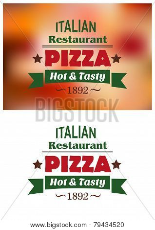 Italian pizza restaurant emblems or labels