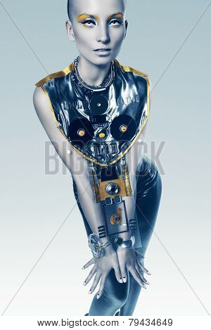 Sexy Cyborg Woman In Costume