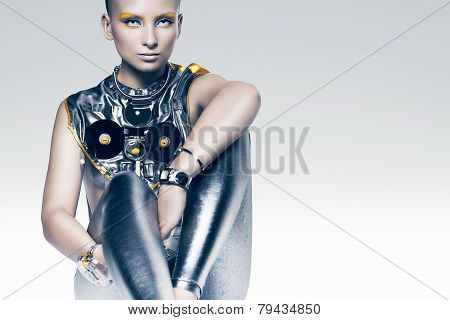 Sitting Cyborg Woman In Costume