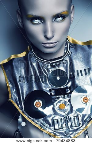 Space Woman In Silver Accessory