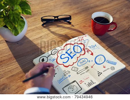 Working Notepad SEO Searh Engine Optimization Searching Concept