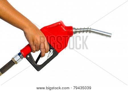 Hand Holding Gas Pump Nozzle On White Background