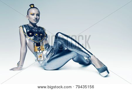 Space Woman Sitting On The Floor