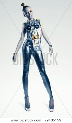 Space Woman Standing In Silver Costume