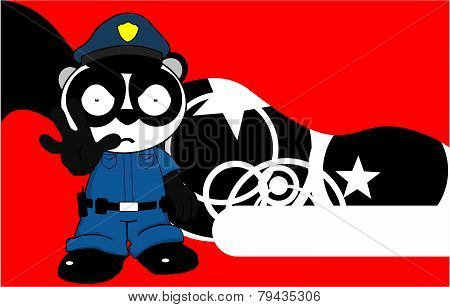 angry panda bear cop cartoon background