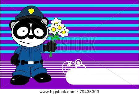 love panda bear cop cartoon background