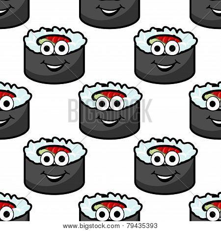 Funny sushi seamless background