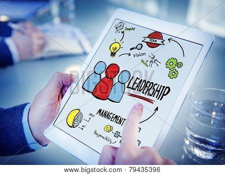 Businessman Leadership Management Digital Communication Searching Concept
