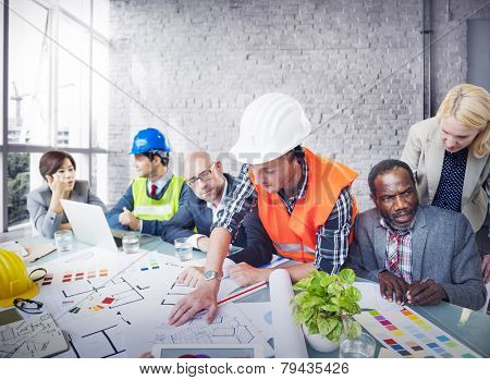 Architect Engineer Working Office Meeting Planning Design Concept