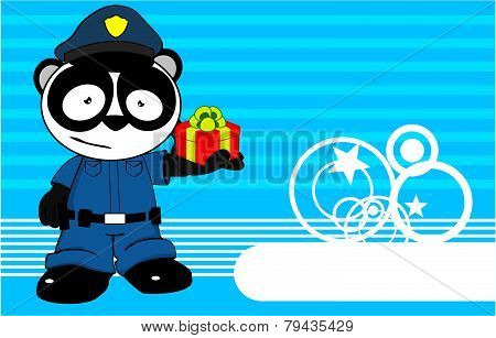 gift panda bear cop cartoon background