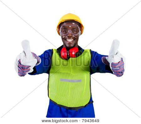 industrial worker thumbs up