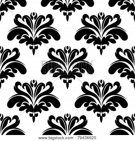 Seamless black and white flourish pattern