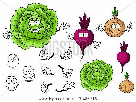 Cute cartoon cabbage, beet, onion vegetable characters