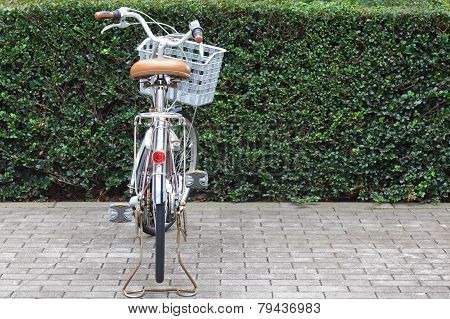 One bicycle at bicycle parking in public green park
