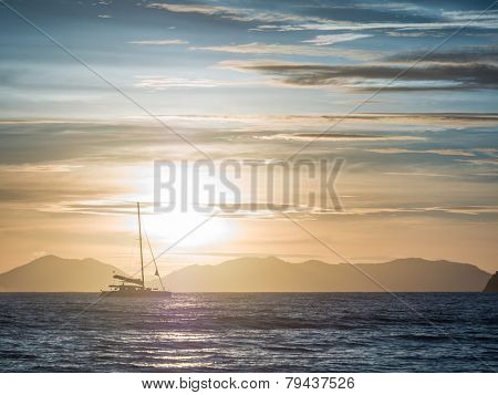 Sailing yacht at sunset in Thailand