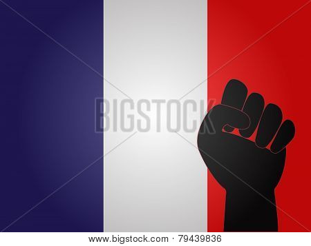 French Flag With Protest Sign