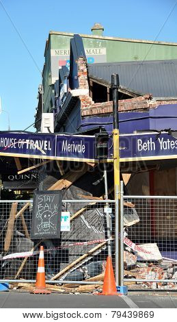 Travel Agency Store Destroyed By Earthquake, Christchurch.