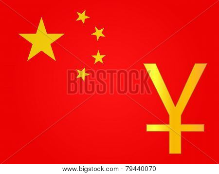 Yuan Currency Sign Over The Chinese Flag