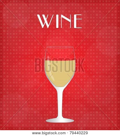 Drinks List White Wine With Red Background