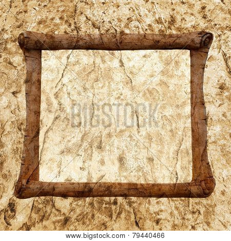 Decorative Stone, Sculpture In The Form Of An Ancient Scroll On Background Old Cracked Walls Of The