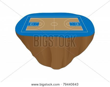Blue Basketball Court Floating Island