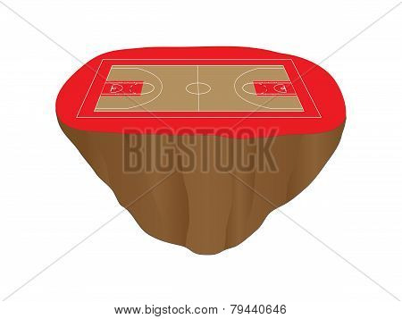 Red Basketball Court Floating Island