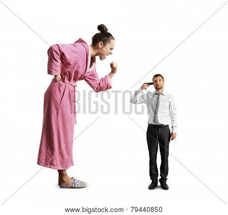 big angry woman screaming at small tired man with gun. isolated on white background
