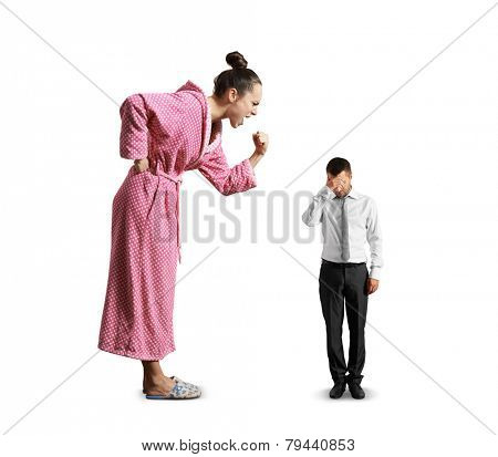 dissatisfied woman screaming at small sad man. isolated on white background