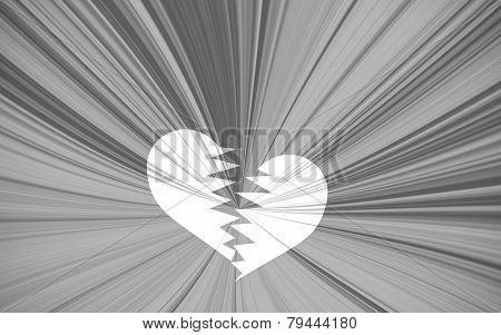 Black Valentine Background, Black And White Starburst With White Heart Breaking