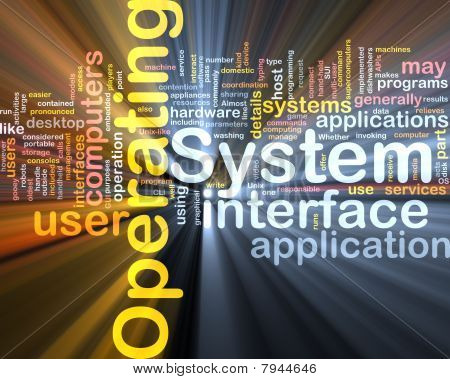 Operating System Word Cloud Glowing