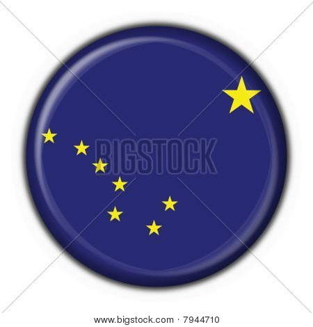 Alaska (usa State) Button Flag Round Shape