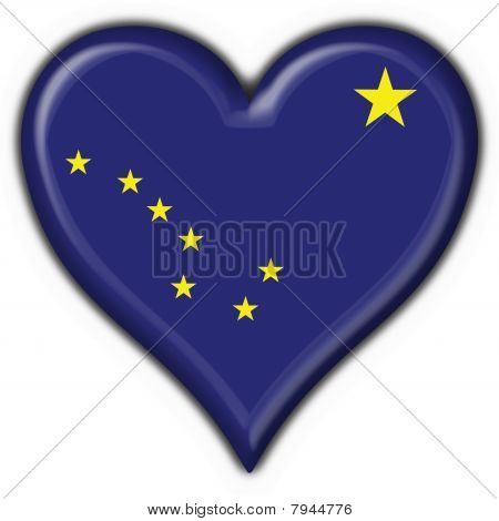 Alaska (usa State) Button Flag Heart Shape
